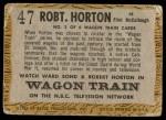 1958 Topps TV Westerns #47  Robert Horton   Back Thumbnail