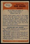 1955 Bowman #1  Doak Walker  Back Thumbnail