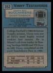 1988 Topps #352  Vinny Testaverde  Back Thumbnail