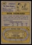 1974 Topps #483  Bob Howard  Back Thumbnail