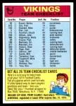 1974 Topps  Checklist   Vikings Front Thumbnail