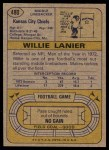 1974 Topps #480  Willie Lanier  Back Thumbnail