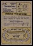 1974 Topps #518  Dennis Wirgowski  Back Thumbnail
