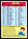 1974 Topps  Checklist   Jets Front Thumbnail
