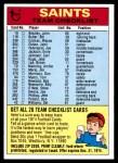1974 Topps  Checklist   Saints Front Thumbnail