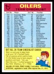1974 Topps  Checklist   Oilers Front Thumbnail