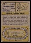1974 Topps #492  Mark Nordquist  Back Thumbnail