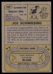 1974 Topps #499  Joe Schmiesing  Back Thumbnail