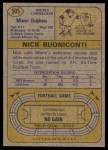 1974 Topps #505  Nick Buoniconti  Back Thumbnail