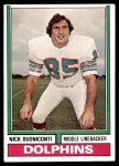 1974 Topps #505  Nick Buoniconti  Front Thumbnail