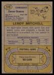 1974 Topps #519  Leroy Mitchell  Back Thumbnail