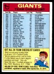 1974 Topps  Checklist   Giants Front Thumbnail
