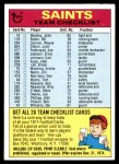 1974 Topps  Checklist   New Orleans Saints Team Front Thumbnail