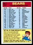 1974 Topps  Checklist   Bears Front Thumbnail
