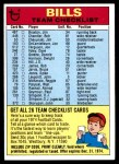 1974 Topps  Checklist   Bills Front Thumbnail