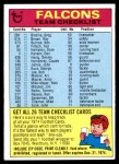 1974 Topps  Checklist   Falcons Front Thumbnail