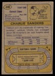 1974 Topps #440  Charlie Sanders  Back Thumbnail