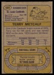 1974 Topps #444  Terry Metcalf  Back Thumbnail