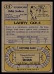 1974 Topps #478  Larry Cole  Back Thumbnail