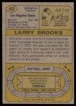 1974 Topps #493  Larry Brooks  Back Thumbnail