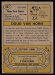 1974 Topps #507  Doug Van Horn  Back Thumbnail