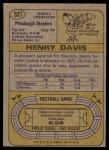 1974 Topps #521  Henry Davis  Back Thumbnail