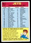 1974 Topps  Checklist   New York Jets Team Front Thumbnail