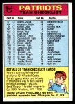 1974 Topps  Checklist   Patriots Front Thumbnail