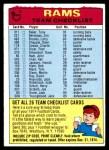 1974 Topps  Checklist   Los Angeles Rams Team Front Thumbnail