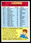 1974 Topps  Checklist   Detroit Lions Team Front Thumbnail