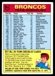 1974 Topps  Checklist   Broncos Front Thumbnail
