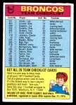 1974 Topps  Checklist   Denver Broncos Team Front Thumbnail