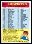 1974 Topps  Checklist   Cowboys Front Thumbnail