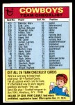 1974 Topps  Checklist   Dallas Cowboys Team Front Thumbnail