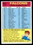 1974 Topps  Checklist   Falcons Front Thumbnail
