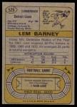 1974 Topps #525  Lem Barney  Back Thumbnail