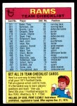 1974 Topps  Checklist   Rams Front Thumbnail