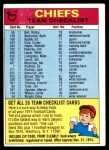 1974 Topps  Checklist   Chiefs Front Thumbnail