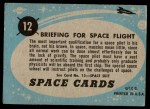 1957 Topps Space Cards #12   Briefing for Spaceflight  Back Thumbnail