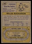 1974 Topps #292  Willie Buchanon  Back Thumbnail