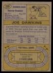 1974 Topps #269  Joe Dawkins  Back Thumbnail