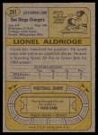 1974 Topps #281  Lionel Aldridge  Back Thumbnail