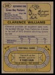 1974 Topps #349  Clarence Williams  Back Thumbnail