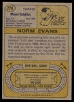1974 Topps #278  Norm Evans  Back Thumbnail