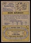 1974 Topps #376  Bob Babich  Back Thumbnail