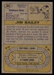 1974 Topps #302  Jim Bailey  Back Thumbnail