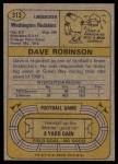 1974 Topps #313  Dave Robinson  Back Thumbnail