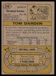 1974 Topps #316  Thom Darden  Back Thumbnail