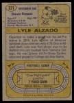 1974 Topps #321  Lyle Alzado  Back Thumbnail