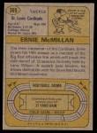 1974 Topps #369  Ernie McMillan  Back Thumbnail